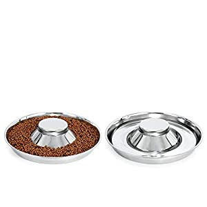 KASBAH Stainless Steel Dog Bowls for Puppy, 2 Pack Puppy Feeder Bowl for Feeding Food and Water Weaning Pet Feeder Bowl for Small/Medium/Large Dogs/Cats/PetsWater Bowl, L, F-Silver