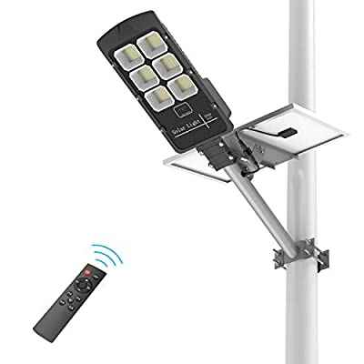 300W LED Solar Street Lights, Outdoor Dusk to Dawn Pole Light with Remote Control, Motion Sensor, Waterproof IP66, Ideal for Parking Lot, Stadium, Yard, Garage and Garden (Cool White)