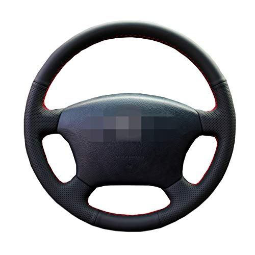 Shining wheat Funda para volante de coche de piel negra para Toyota Land Cruiser Prado 120 Land Crui