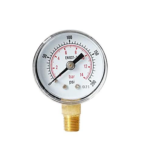 Uniquelove Manómetro De Presión Radial Barómetro De Alta Precisión Manómetro De Aceite Manómetro De Presión De Agua Ts-Y408-200Psiy40 0-14Bar 0-200Psi - Plateado 6X4X2.5Cm