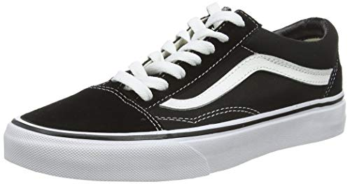 Vans Old Skool Leather Sneaker Unisex Adulto, Nero (Black/White), 38