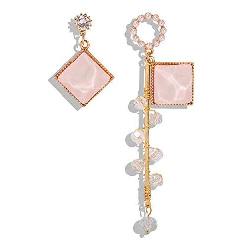 OUHUI Pendientes de Resina Rosa Pendientes de Perlas Imitadas Asimétricas Mujeres Pendientes de Gota Mujeres Exquisito/A