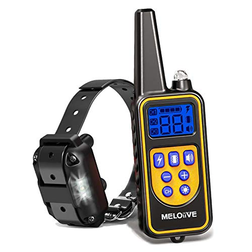 Meloive Collier de Dressage pour Chiens Rechargeable et IP67 Étanche avec Distance de 800m avec 99 Niveaux de Mode Vibration, Choc Electrique, Sonore.