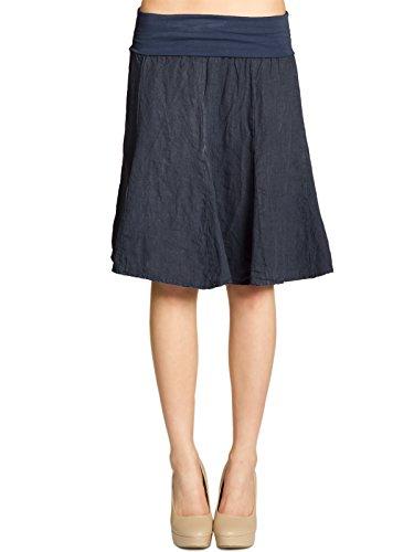 Caspar RO014 Damen Leinenrock mit figurfreundlichem Stretch Bund, Farbe:dunkelblau, Größe:S-M