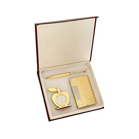 MSA Jewels 3 In 1 Premium Gift Set Of Golden Apple Clock With Crystal Pen And Business Card Holder With Premium Packaging