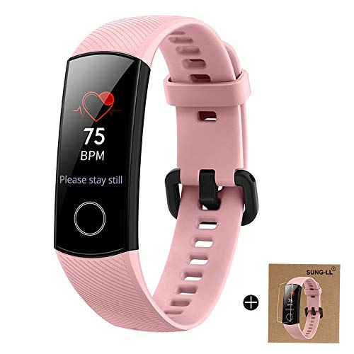 HUAWEI Honor Band 4 6-Axis Inertial Heart Rate Monitor Infrared Light Wear Detection Sensor Full Touch AMOLED Color Screen Home Button All-in-One Activity Tracker 5ATM Waterproof (Pink)