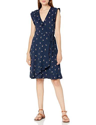 Lucky Brand Women's Flutter Sleeve V Neck Ruffle Spring Fling Wrap Dress, Blue Multi, S