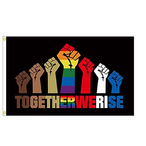1 banderas LGBT de poliéster con doble costura, banderas gay LGBT arco iris decorativas de 90 x 150 cm, ideal para decoraciones de mes de orgullo LGBT