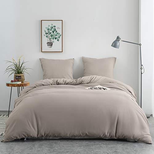 AYSW 14 Couleurs Parure de lit avec Housse de Couette 220 x 240 cm / 65 x 65 x 2 cm Parure 3 pieces pour 2 Personnes avec Fermeture eclair,Kaki
