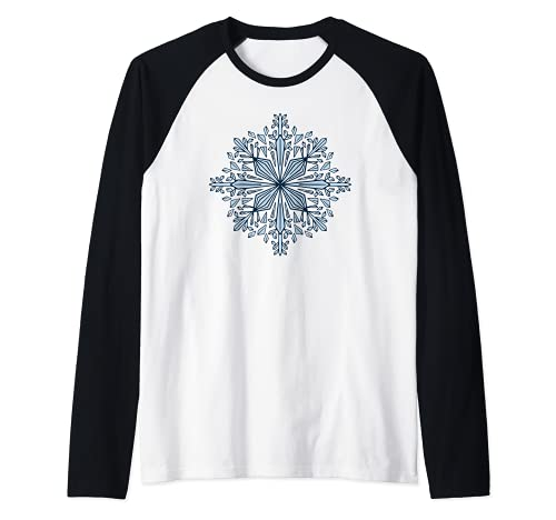 Copo de nieve invierno Navidad helado escarcha Camiseta Manga Raglan