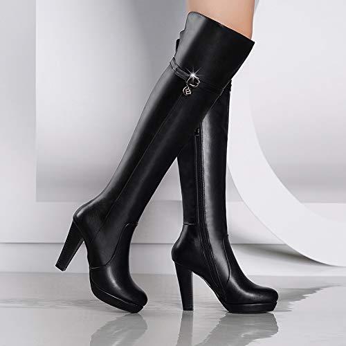 Shukun laarzen van PU-leer voor dames, hoge hakken, dik, met knielaarzen, winterlaarzen, voor dames
