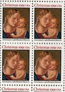 Roman Madonna and Child Christmas 4 x 29 cent US postage stamp #2578