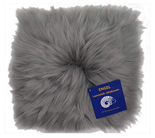 Reissner Lammfelle Engel Naturfelle Sitzauflage NADI-30-SIL aus Lammfell hochwollig quadratisch Fellmaß 40x40cm, Silber