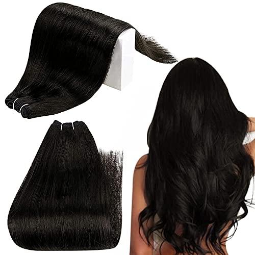 RUNATURE Extension Capelli Veri Tessitura Invisibile 50cm 20 Pollici Colore 1 Nero Corvino 20 Pollici Hair Weft 1 Pezzo Weft Long Hair Tessitura