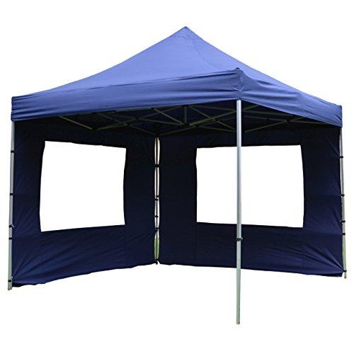 Nexos Hochwertiger Falt-Pavillon Partyzelt mit 2 Seitenteilen PROFI Ausführung für Garten Terrasse Feier Markt als Unterstand Plane wasserdichtes Dach 3 x 3 m blau