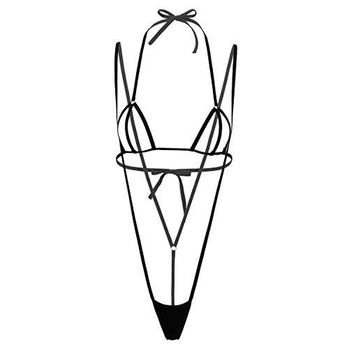 Alvivi Sexy Mini Bikini Coordinati Donna Brasiliana Lingerie Sling Shot Costume da Bagno Trikini Reggiseno Bra Aperto con Micro Perizoma G-String Costumi Mare Spiaggia Nero Taglia Unica