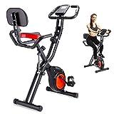 ERGO LIFE X-Bike Heimtrainer, 8-stufiger Einstellbarer Magnetwiderstand, Faltbarer Indoor-Trainer, X-Bike mit Telefonhalter/Handpulssensoren