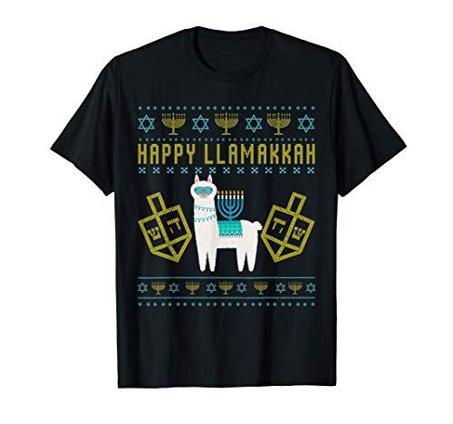 Happy Llamakkah Cute Llama Menorah Ugly Hanukkah T-Shirt
