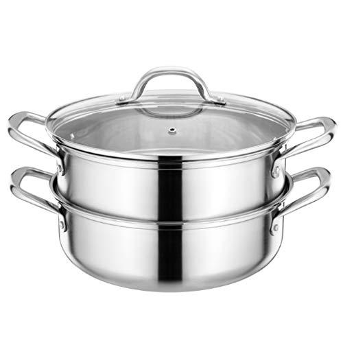 SHYPT Edelstahl Double-Layer-Dampfer, Suppe und Steamer, Hohlgriff mit Glasdeckel, Geeignet for Cooker