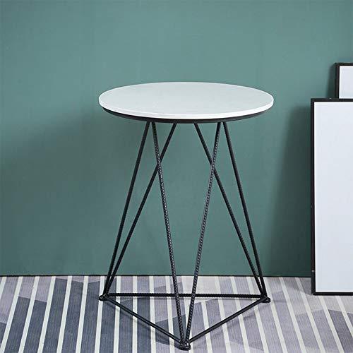 BZ-ZK Mesa de café de mármol, soporte geométrico, mesa redonda para hotel, oficina, recepción, fácil de limpiar, mesa de desayuno duradera, 50 x 50 x 65 cm (tamaño: 50 x 50 x 65 cm, color: B)