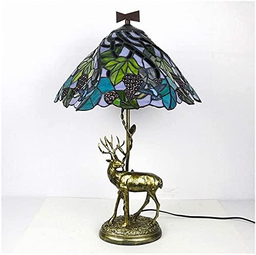 American Hotel Complex Guti Tiffany Lámpara de mesa Sala de estar Estilo europeo Trabajo clásico de la lámpara de escritorio de protección ocular 16 pulgadas Uvas-