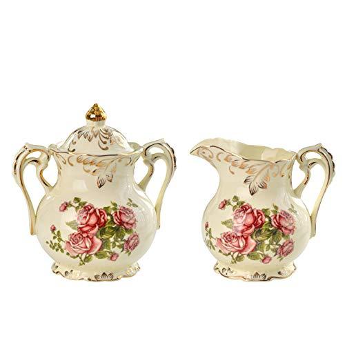 YOLIFE Zuckerdose und Milchkännchen aus Keramik mit rotem Rosenmuster und goldenen Blättern.