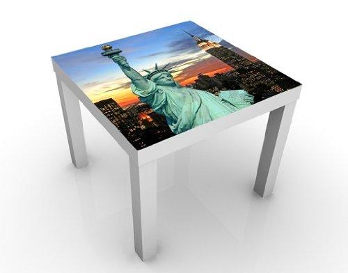 Apalis Table Basse Design New York at Night 55x55x45cm, Tischfarbe:Weiss;Größe:55 x 55 x 45cm
