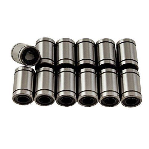 ARCELI 12 Stücke Linearkugellager Gummi Stahlkörperdichtung Buchse Silber für 3D Drucker/Prusa Mendel/Reprap (LM6UU)
