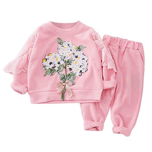 Moneycom❤Toddler Baby Kids Girls Spring Floral Ruffles Sweatshirt Tops Pants Trousers Set Rose(4-5 Ans)