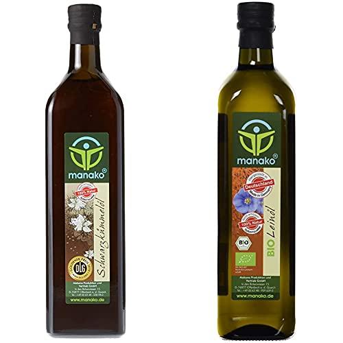 manako Schwarzkümmelöl human, kaltgepresst, 100% rein, 1000 ml Glasflasche (1 x 1 l) & BIO Leinöl human, kaltgepresst, 100% rein, 750 ml