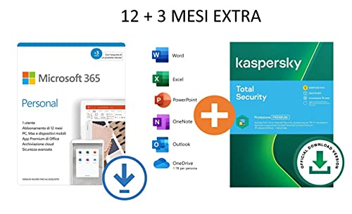 Microsoft 365 Personal | 12+3 Mesi | PC/Mac + Kaspersky Total Security 2021 | 1 Dispositivo | 15 Mesi | Codice D'Attivazione Via Email