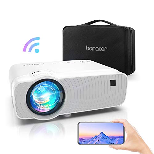 WiFi Beamer 6000 Lumen, Abox Mini Beamer unterstützt 1080P Full HD Wireless Heimkino Beamer Projektor kompatibel mit TV Stick, HDMI, SD, AV, PS4, X-Box, iOS/Android Smartphone