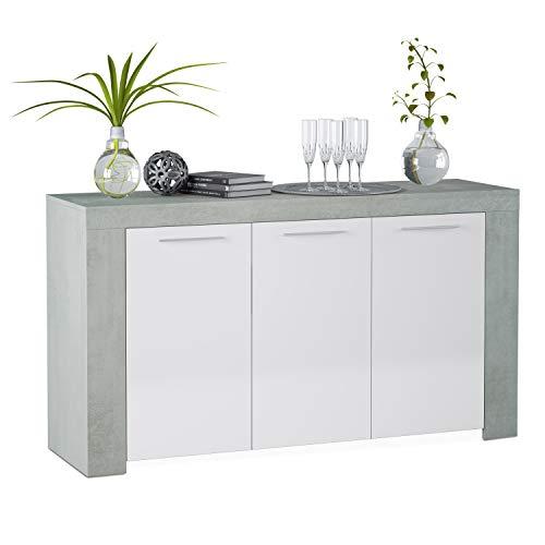 Habitdesign 016620L - Aparador Comedor Moderno, Buffet salon, Color Blanco Artik y Gris Cemento, Ambit