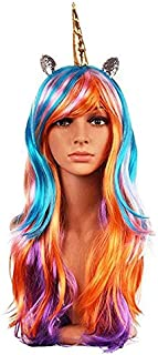 Women Princess Rainbow Unicorn Wig Long Curly Hair Wigs Halloween Party Cosplay Fits Kids, Girls,Teens and Adults Gift