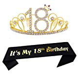18th Birthday Tiara and Sash Happy 18th Birthday Party Supplies 18th Birthday Glitter Satin Sash and Crystal Tiara Princess Birthday Crown for Girls 18th Birthday Party Decorations