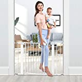 Tokkidas Auto Close Safety Baby Gate, 29.5'-40.6' Easy Walk Thru Child Gate for Doorways,Stairs,Includes 2.75' and 5.5' Extension,4 Pack Pressure Mounts and 4 Pack Wall Cups