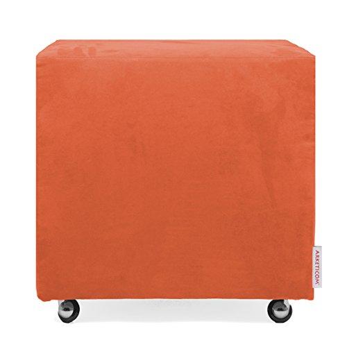 Arketicom UILLS Pouf Design Cube Roues Repose Pied Dehoussable Microfibre 45x45 Orange