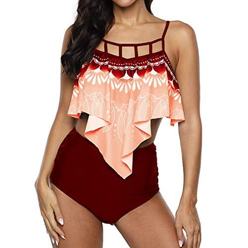 Bikini High Waist Damen Zweiteiliger Badeanzug Set Hohe Taille Bikinihose mit Langem Volant sexy Bedruckt Elegant Monokini mit Verstellbare Träger Bademode für Urlaub Strandmode L B-Red