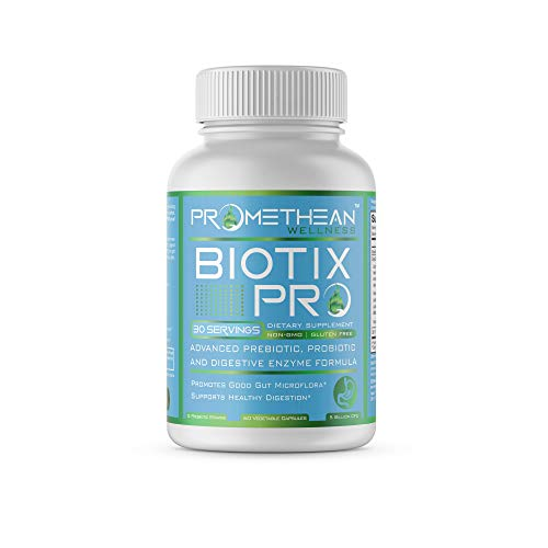 Biotix PRO Advanced Prebiotics and Probiotics Plus Digestive Enzymes Supplements for Men and Women Rebalance Your Gut Microbiome Health 60 Count Powder Capsules Supplement