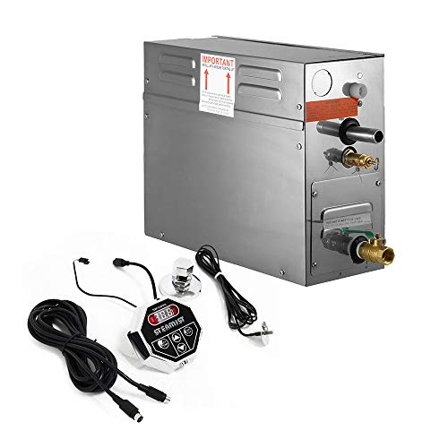 HUKOER 6KW Generatore di vapore, 220V Sauna a vapore con comandi programmabili impermeabili per la casa SPA Bagno Doccia bagno dell'hotel