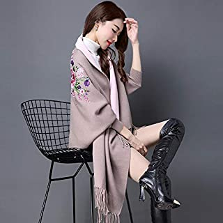 Winter Long Scarf Autumn Women's Shawl Scarf Dual-use with Sleeve Cheongsam Cloak Cloak Knitted Cardigan Coat Female (Color : Red) Winter Soft Scarf (Color : Khaki)