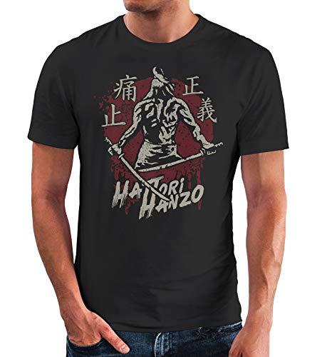 Neverless® Herren T-Shirt Samurai japanische Schriftzeichen Schriftzug Hattori Hanzo Fashion Streetstyle schwarz XXL
