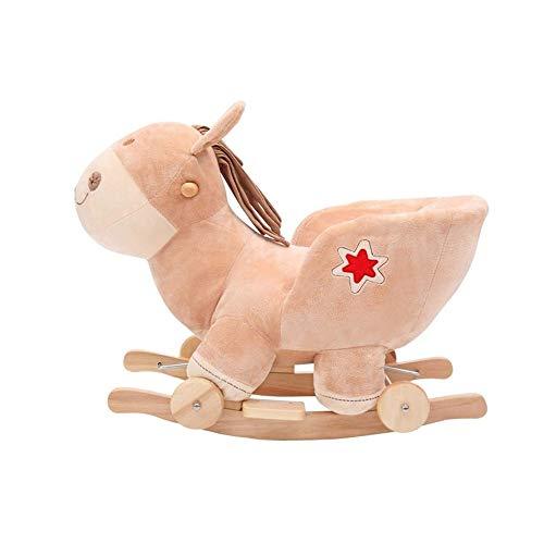 NXYJD Multifunción de Madera Animales de Peluche Mecedora Caballo de Troya Juguete Mecedora Carro de bebé Niño Coche de Carretilla