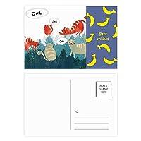 おしゃべりふくろうペットと動物の恋人を守る バナナのポストカードセットサンクスカード郵送側20個