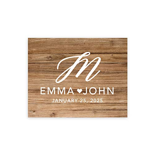 Amazon Com Andaz Press Custom Large Wedding Canvas Guestbook Alternative 16 X 20 Inches Rustic Wood Script Monogram Horizontal Personalized Sign Our Canvas Welcome Sign For Fall Rustic Woodland Theme Posters Prints