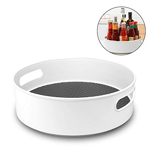 Semlos Lazy Susan Turntable Cupboard Organizer, Multi-Functional Spice Rack for Kitchen Storage, Revolving Condiment Holder, Non-Slip Storage Racks 9' Grey White