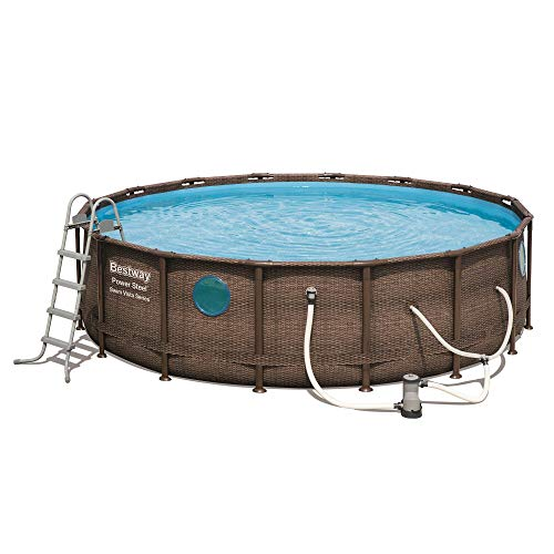 Bestway Power Steel Swim Vista 16x4 Foot Above Ground Swimming Pool Set w/Pump
