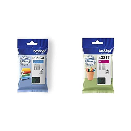 Brother LC3219XLC Cartucho de tinta cian original de larga duración para las impresoras + LC3217M Cartucho de tinta magenta original para las impresoras