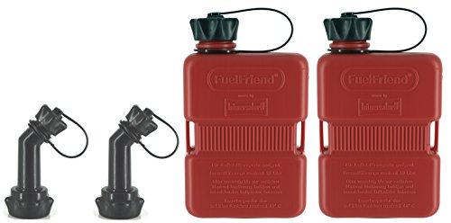 FuelFriend®-Plus 1,0 Liter - Klein-Benzinkanister Mini-Reservekanister + verschließbares Auslaufrohr - im Doppelpack
