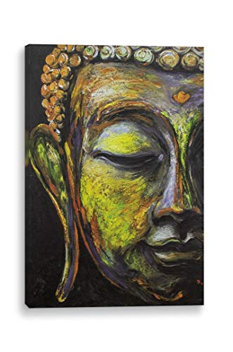 The Buddha Framed Canvas 3D Giclee Printed Brushstroke Textured Framed Wall Art Ready To Hang Living Bed Kitchen Bathroom Office Decor (3-5 Sizes 11 Frame Colors) Factory Direct Cost